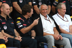 Christian Horner, Red Bull Racing, Sporting Director, Adrian Newey, Red Bull Racing, Technical Operations Director and Dietrich Mateschitz, Owner of Red Bull