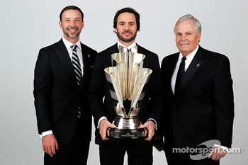 Five-time champion Jimmie Johnson poses with team owner Rick Hendrick and crew chief Chad Knaus