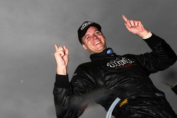 Jonathon Webb celebrates his first career victory in race 25 of the V8 Supercar Championship