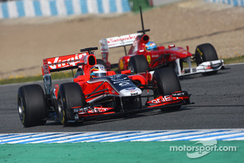 Jérome d'Ambrosio, Marussia Virgin Racing and Fernando Alonso, Scuderia Ferrari