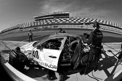 Pit stop for #40 Dempsey Racing Mazda RX-8: Patrick Dempsey, Charles Espenlaub, Joe Foster, Tom Long