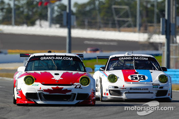#22 Bullet Racing Porsche GT3: Eric Lux, Darryl O'Young, James Walker, Brian Wong, #59 Brumos Racing Porsche GT3: Andrew Davis, Hurley Haywood, Leh Keen, Marc Lieb