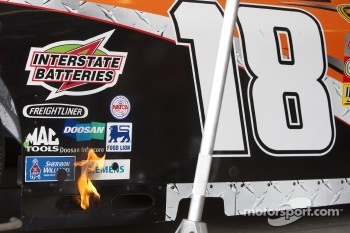 Flames on the car of Kyle Busch, Joe Gibbs Racing Toyota