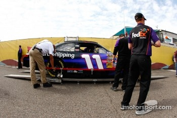 Car of Denny Hamlin, Joe Gibbs Racing Toyota at technical inspection