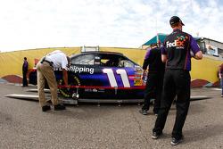 Car of Denny Hamlin, Joe Gibbs Racing Toyota at technical inspection