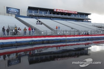 Grandstands reflective shot after early morning rain/hail storm