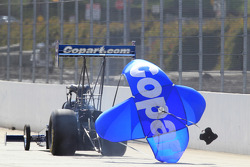 Brandon Bernstein deploys his parachutes in his Copart Top Fuel Dragster