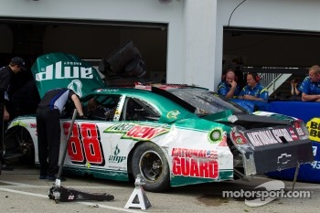 Damage on the car of Dale Earnhardt Jr., Hendrick Motorsports Chevrolet after a crash