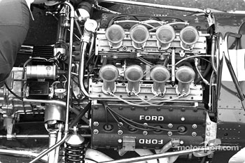The 3.0-liter Ford DFV V8 engine packaged neatly in the back of the Lotus 49.