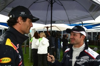 Mark Webber, Red Bull Racing and Rubens Barrichello, AT&T Williams