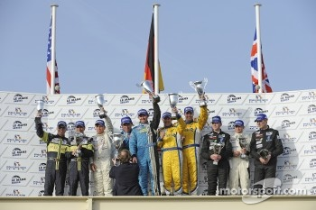 FLM podium: class winners #95 Pegasus Racing Formula Le Mans Oreca - 09: Mirco Schultis and Patrick Simon, second place Jens Petersen, Elton Julian and Christian Zugel, third place John Hartshorne, Stephen Keating and Phillip Keen