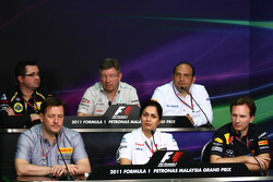 Eric Boullier Lotus Renault GP Team Principal; Ross Brawn Mercedes GP Team Principal; Colin Kolles Hispania Racing F1 Team Team; Paul Hembery Pirelli Motorsport Director; Monisha Kaltenborn Sauber Managing Director; Christian Horner Red Bull Racing Team P