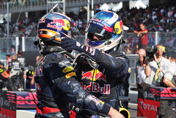 Race winner Daniel Ricciardo, Red Bull Racing (Right) celebrates with his second placed team mate Max Verstappen, Red Bull Racing in parc ferme