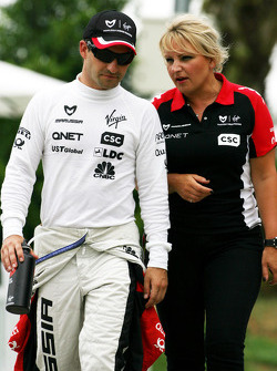 Timo Glock, Virgin Racing and Tracy Novak, Press officer