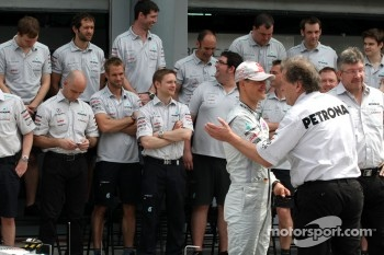 Michael Schumacher, Mercedes GP and Norbert Haug, Mercedes, Motorsport chief