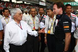 Bernie Ecclestone with Christian Horner, Red Bull Racing, Sporting Director