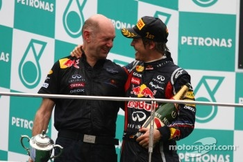 Podium: race winner Sebastian Vettel, Red Bull Racing with Adrian Newey, Red Bull Racing, Technical Operations Director