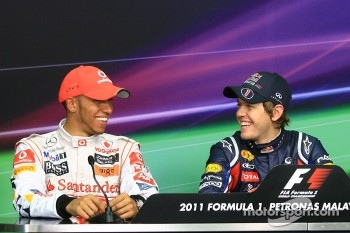 Press conference: pole winner Sebastian Vettel, Red Bull Racing, second place Lewis Hamilton, McLaren Mercedes