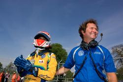 Felipe Nasr with his team boss Trevor Carlin