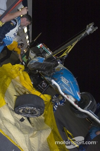 The wrecked car of Paul Tracy