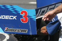 Paul Tracy's damaged rear wing
