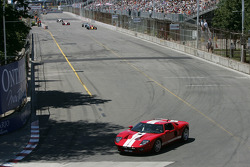 The Ford GT pace car leads the field on pace laps