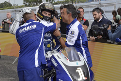 Polesitter Jorge Lorenzo celebrates