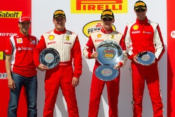 458 podium: race winner Scott Tucker, second place Enzo Potolicchio, third place Cooper MacNeil with Marc Gene