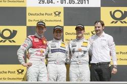 Podium: second place Mattias Ekstrom, Audi Sport Team Abt, Audi A4 DTM, race winner Bruno Spengler, Team HWA AMG Mercedes, AMG Mercedes C-Klasse, third place Ralf Schumacher, Team HWA AMG Mercedes, AMG Mercedes C-Klasse