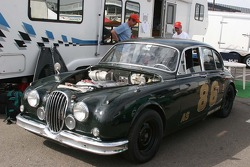 A vintage Jaguar race car