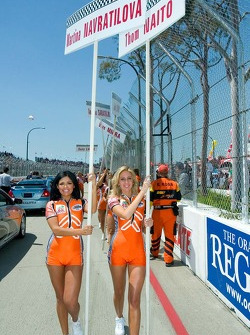 Charming sign girls leave the grid before the start of the celebrity race