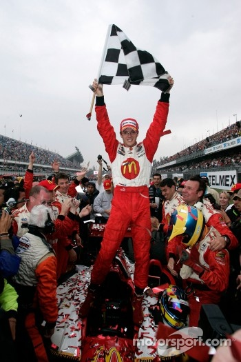 Race winner Sébastien Bourdais celebrates