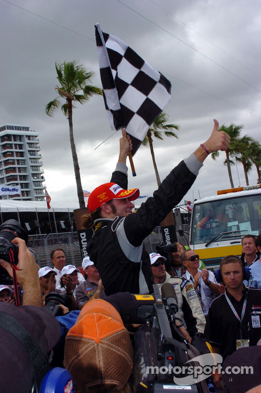 Race winner Nelson Philippe celebrates