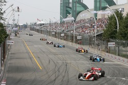 Pace laps: Justin Wilson leads the field
