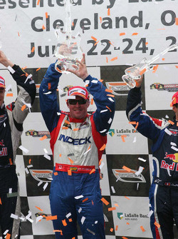 Paul Tracy celebrates his victory