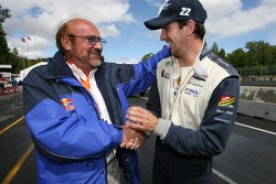 Pole winner Tristan Gommendy shares a laugh with team owner Kevin Kalkhoven