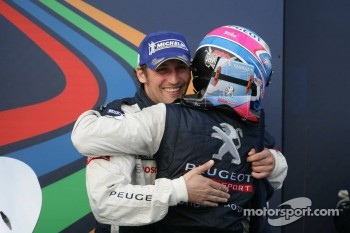 Second place Franck Montagny and Stéphane Sarrazin celebrate