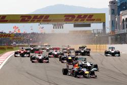 Sebastian Vettel, Red Bull Racing leads Nico Rosberg, Mercedes GP F1 Team, MGP W02