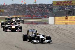 Pastor Maldonado, AT&T Williams, FW33 leads Jaime Alguersuari, Scuderia Toro Rosso, STR06