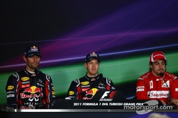 Post-race press conference: race winner Sebastian Vettel, Red Bull Racing, second place Mark Webber, Red Bull Racing, third place Fernando Alonso, Scuderia Ferrari