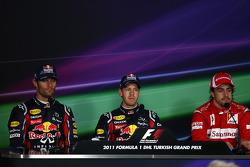 Post-race press conference: race winner Sebastian Vettel, Red Bull Racing, second place Mark Webber, Red Bull Racing, third place Fernando Alonso, Scuderia Ferrari