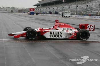 Dan Wheldon's car sits at the yard of bricks