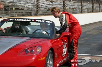 Dan Wheldon admires his new 2005 Corvette Pace Car