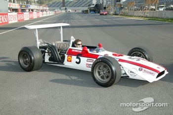 Jeff Bucknum in a vintage Honda F1 car