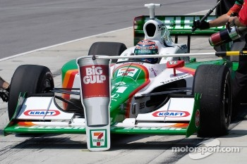 Tony Kanaan rolls in to practice a pit stop