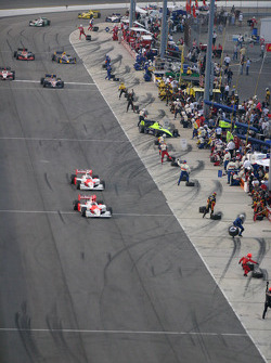 Helio Castroneves and Sam Hornish Jr. lead the field on pitlane