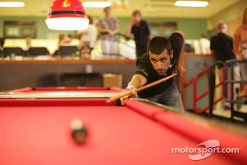 Dario Franchitti plays pool