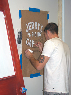 A test run before painting false window for Jerry's Garage office door