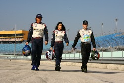 Buddy Rice, Danica Patrick and Paul Dana