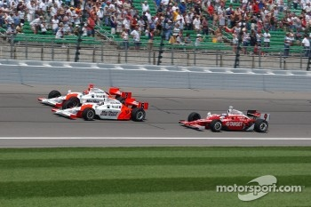 Sam Hornish Jr., Helio Castroneves and Scott Dixon